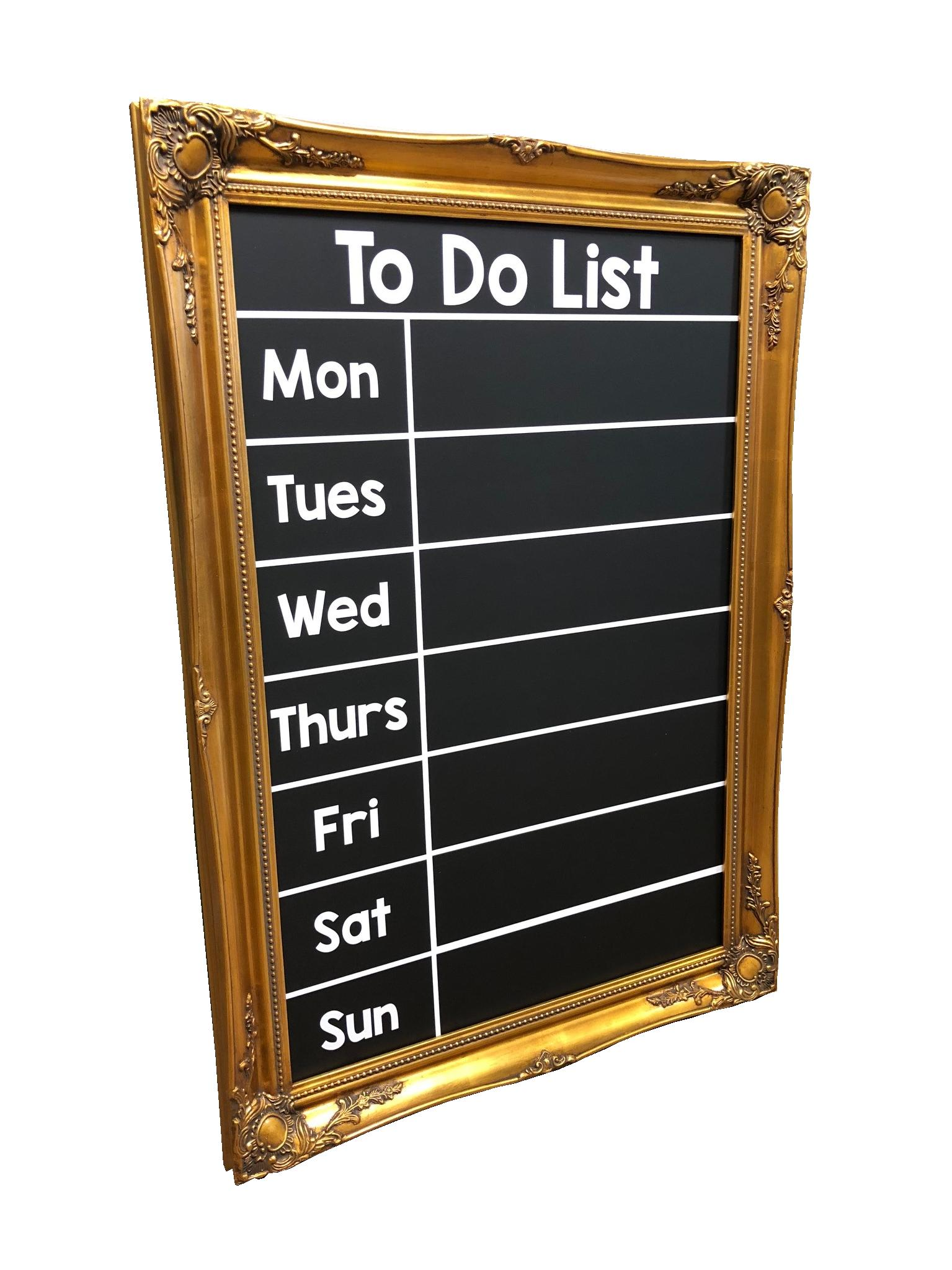 Antique Gold Frame Chalkboard To Do List | Patterson Graphics